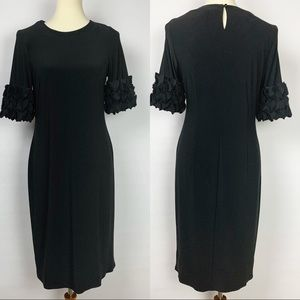 Taylor Black Midi Dress w/ Ruffle Sleeves